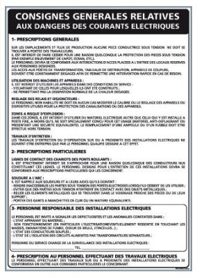 CONSIGNES GÉNÉRALES DES DANGERS DES COURANTS ELECTRIQUES (A0306)