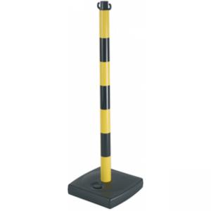 Poteau PVC Jaune/Noir sur socle à lester 4kg