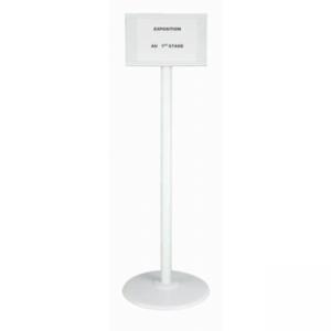 Poteau acier grande hauteur Blanc sur socle acier avec support panneau
