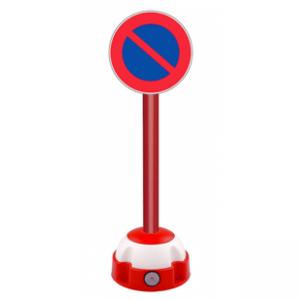 Poteau aluminium Rouge sur socle balise avec panneau