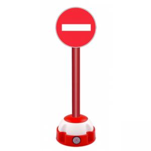 Poteau aluminium Rouge sur socle balise avec panneau - Sens interdit