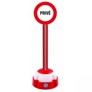 Poteau aluminium Rouge sur socle balise avec panneau - Privé